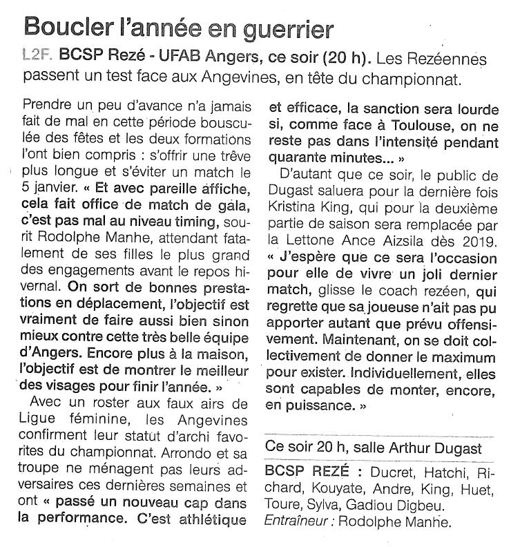 BCSP Rezé - Ouest France - 21/12/2018