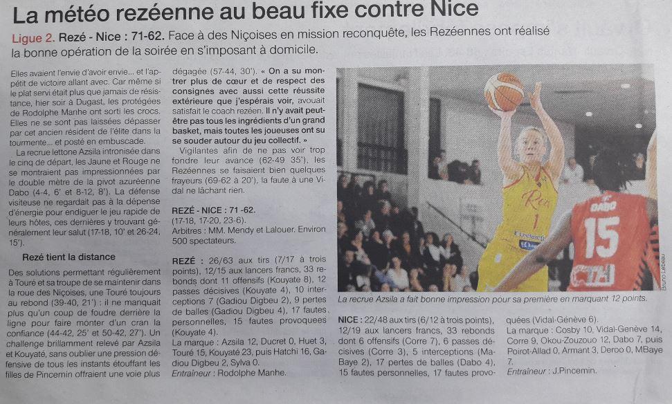 BCSP REZE - Ouest-France - 20/01/2019