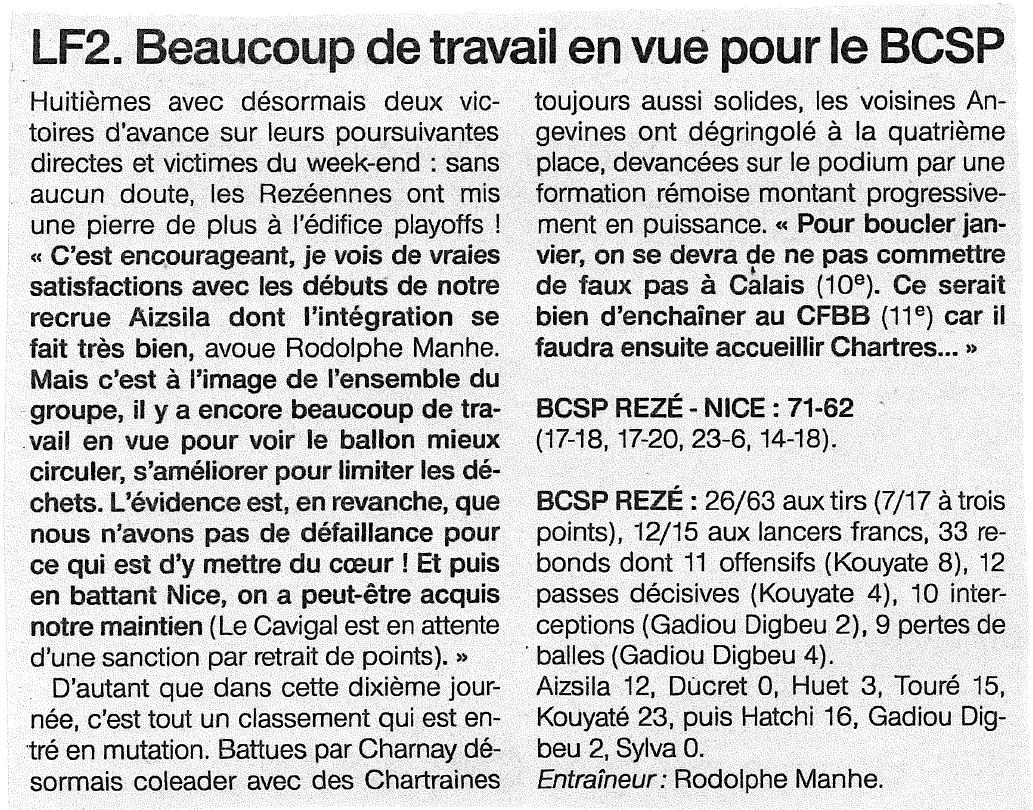 BCSP REZE - Ouest-France - 21/01/2019
