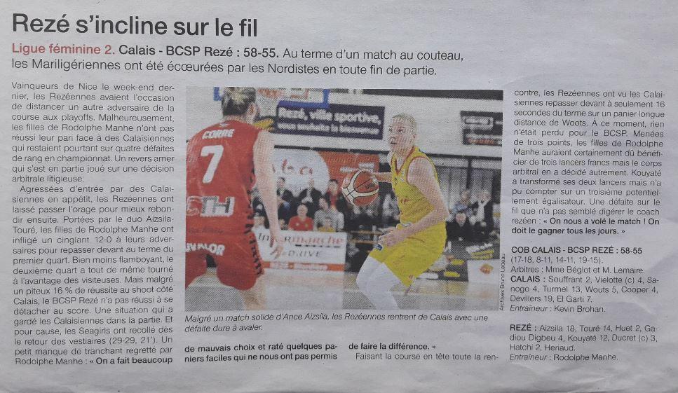 BCSP REZE - Ouest-France - 27/01/2019