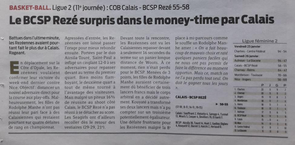 BCSP REZE - Presse-Océan - 27/01/2019