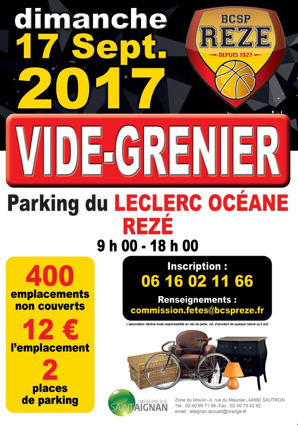 Vide grenier 2017 site officiel du basket club saint for Salon du chiot reze 2017