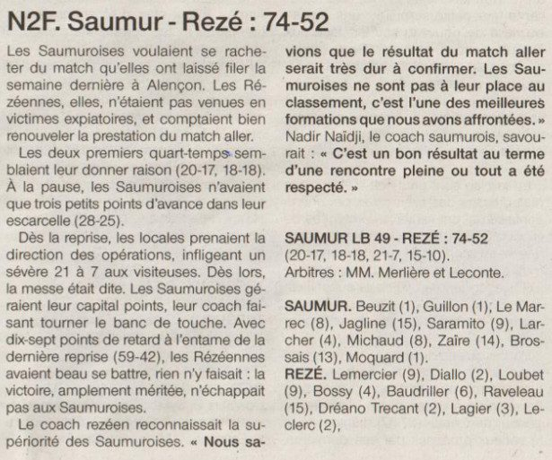NF2 / Ouest-France / 29-01-2017