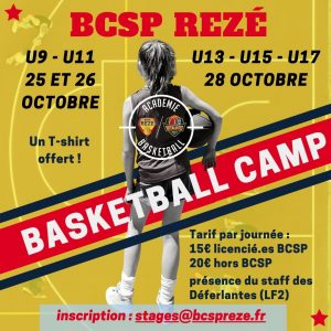 Stage basket BCSP Rezé vacances toussaint